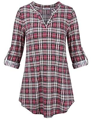 Faddare Women's Casual 3 4 Sleeve Notch V Neck Long Sleeve Blouse Shirt Tops