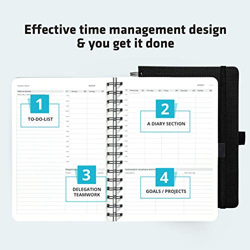Monthly Wirebound Day Planner - Action Day Planner 2019 - #1 Time Management Planners & You Get Things Done - All Your Thoughts, Goals & Actions in One Place - Weekly, Daily, Monthly, Yearly Journal (6x8, Wire-Bound, Black)