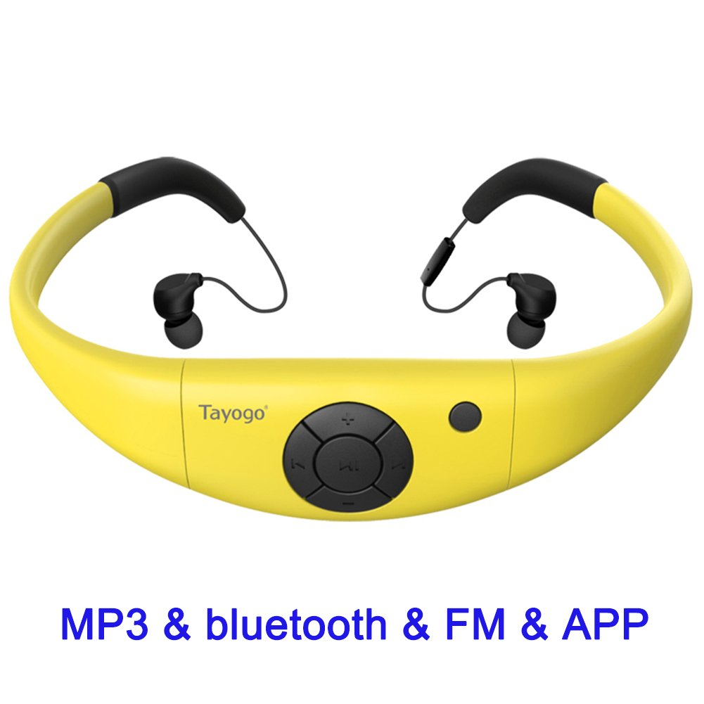 MP3 Headphones 8GB IPX8 Waterproof Ultra-light FM Bluetooth 4.2 HI-FI Underwater 3m Pedometer APP U Disk for Swimming Running Riding Walking SPA and other Water Sport with Shuffle Player-Yellow by Tayogo