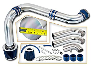 Rtunes Racing Cold Air Intake Kit 3 Piece Filter Combo BLACK Compatible For 03-08 Dodge Ram 1500 2500 3500 Hemi 5.7L