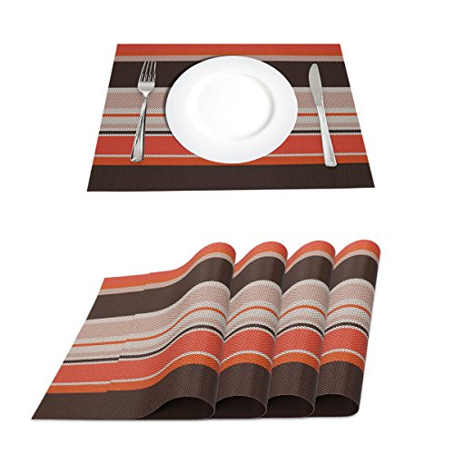 - Placemats Set of 4,Heat Insulation Non-Slip Washable PVC Table Mats for Home Kitchen Dining Table (Striped Orange)