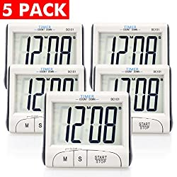 5 Pack Senbowe™ Digital Kitchen Timer/ Cooking Timer with Large Display Screen, Loud Sounding Alarm, Strong Magnetic Backing, Retractable Stand