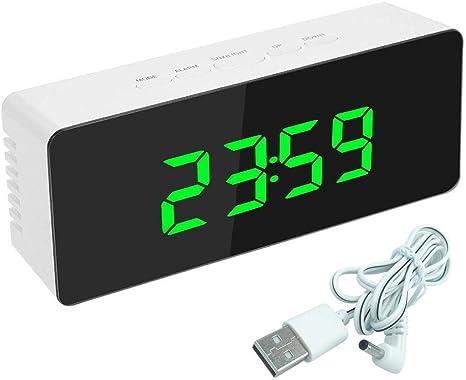 YXTK Espejo Digital Reloj Despertador Termómetro Digital Pantalla De Calendario Fecha Escritorio Mesa Reloj Viaje Electrónico Mini Relojes Snooze Time: Amazon.es: Deportes y aire libre