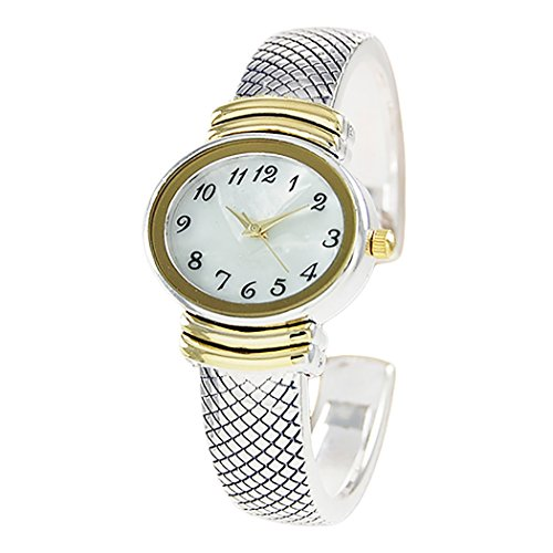 Rosemarie Collections Women's Stylish Oval Shaped Mother of Pearl Face and Textured Cuff Watch Bracelet (Silver/Gold)