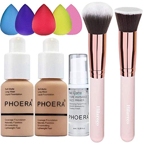 PHOERA Foundation 104 and 105 & Face Primer,Liquid Full Coverage Foundation Set,Foundation Brush Powder Brush,5 Makeup…