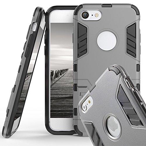 Handyhülle Case für Apple iPhone 6 6s   SPACE GREY   Hybrid Cover mit Kickstand   Hart Armor Hülle   TPU und Plastik