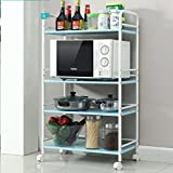 Hyun times Kitchen Shelf Microwave Storage Shelf Four - Storey Strap Wheel Storage Trolley Shelf