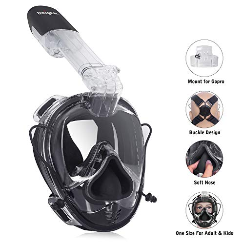Unigear Full Face Snorkel Mask with Detachable Camera Mount, 180°Panoramic View Ear Pressure Balance Anti-Fog Anti-Leak Snorkeling mask, Universal Size for Adults and Youth (Black)