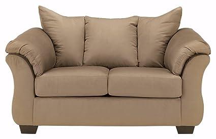 Ashley Furniture Signature Design   Darcy Love Seat   Contemporary Style  Microfiber Couch   Mocha