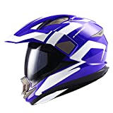 Dual Sport Helmet Motorcycle Full Face Motocross Off Road Bike Racing Blue White,Size XL