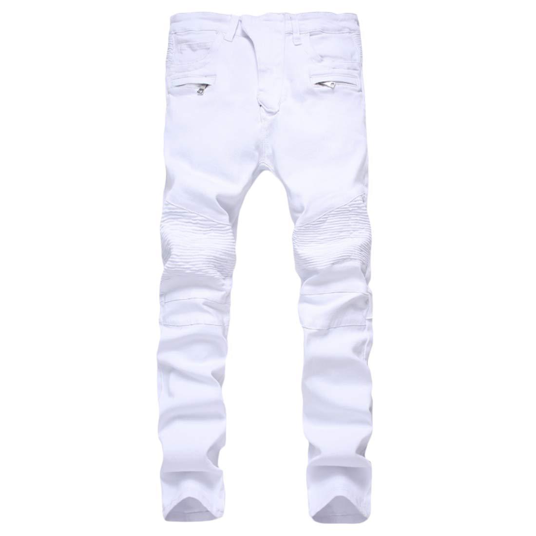 Fulision Mens Slim Straight Fit Jeans with Zipper Slim Pants Casual Slim Pants
