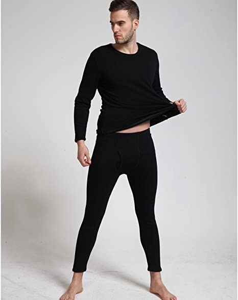 Liang Rou Mens Thick Fleece Lined Thermal Underwear Set