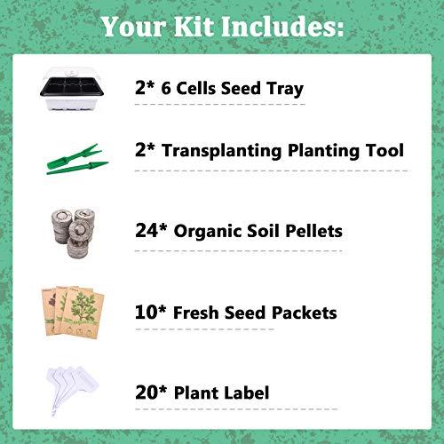 KORAM Herb Garden Kit Growing Kit Gardening Starter Set- 10 Herbs Grow from Organic Seeds Indoor Herb Kit with Everything a Gardener Needs for Growing Herbs Indoors, Kitchen, Balcony Christmas Gift