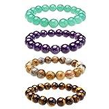 Top Plaza Semi-Precious Gemstones Healing Power Crystal Stretch Beaded Bracelet (Amethyst/Tiger Eye Stone/Green Aventurine/Crazy Agate)