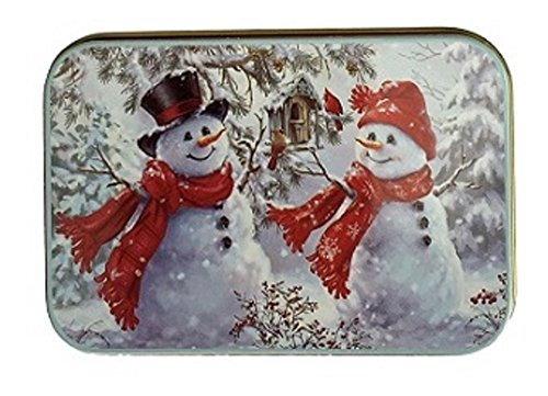 [해외]크리스마스 선물 카드 붉은 스카프와 포 인 세 티아 깡통 상자 눈사람 3 팩/Christmas Gift Card Tin Box Snowmen with Red Scarves and Poinsettia 3 Pack