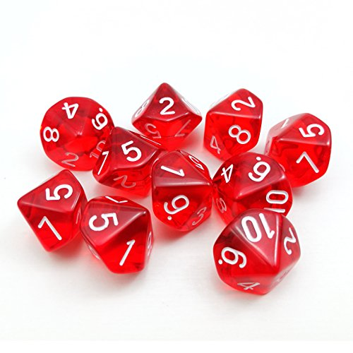 Bescon Polyhedral 10 Sides Dice with Number 1-10, Red Transparent 10 Sided Dice, 10 Sides Cube 1-10, 10pcs Set (Transparent Red Dice)