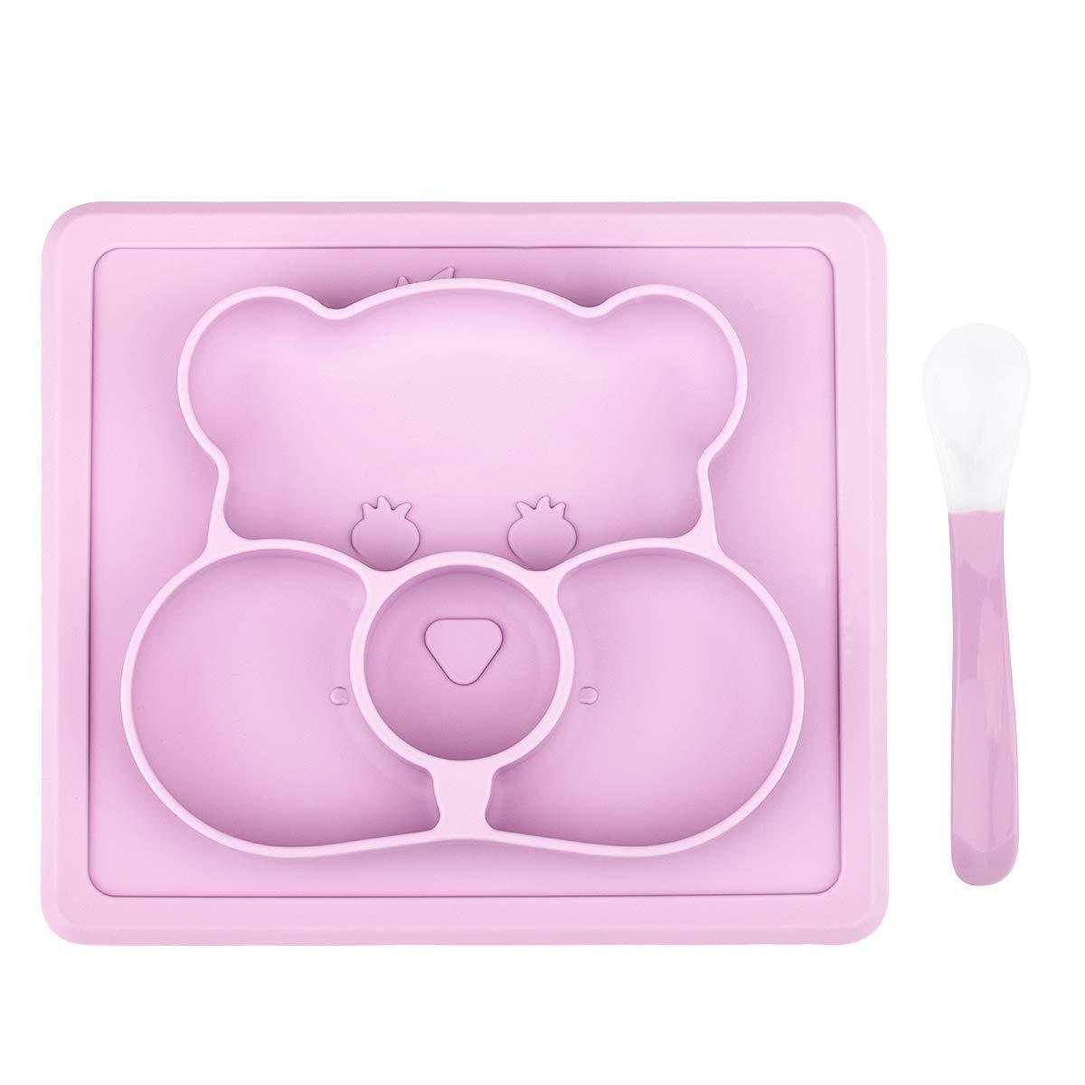 ZABO Silikon Baby Tischset Rutschfester f/ür Baby und Kinder Baby Teller kinderteller passend f/ür die meisten Hochstuhl-Tabletts