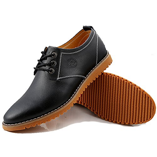 iLory Herren Schnürhalbschuhe Freizeit Leder Schuhe Klassiker Oxfords Halbschuhe Schwarz