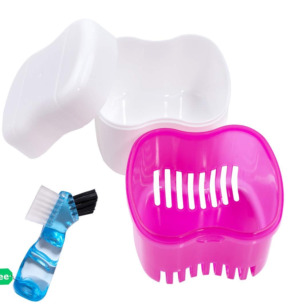 Denture Brush Retainer Case, Denture Case, Denture Cups Bath, Dentures Container with Basket Denture Holder for Travel, Mouth Guard Night Gum Retainer Container (pink) : Beauty