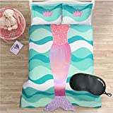 NEW! Lush Décor Mermaid Ruffled Polyester Kids Bedding 2-Piece Twin Reversible Comforter Set with Sleep Mask