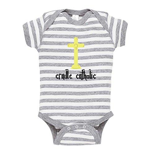 Cradle Catholic Baby Kid Stripe Fine Jersey Bodysuit Grey Newborn