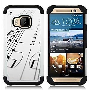 GIFT CHOICE / Defensor Cubierta de protección completa Flexible TPU Silicona + Duro PC Estuche protector Cáscara Funda Caso / Combo Case for HTC ONE M9 // Music Notes //
