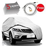 #10: Car Cover SUV Cover - 5 Layers Snow Cover Waterproof Windproof for Indoor Outdoor, Rain, Snow, Dust, Ice, Sun All Weather Cover for Car, Windproof Ribbon & Anti-theft Lock, Fits up to 204