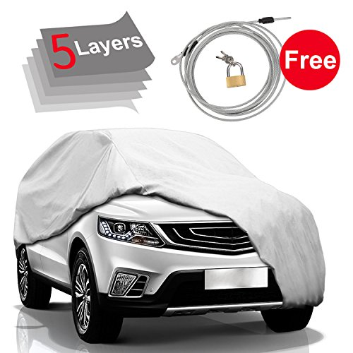 KAKIT Car Cover SUV Cover - 5 Layers Windproof Waterproof for Indoor Outdoor, All Weather Proof Covers for SUV, Windproof Ribbon & Anti-Theft Lock, Fits up to 204