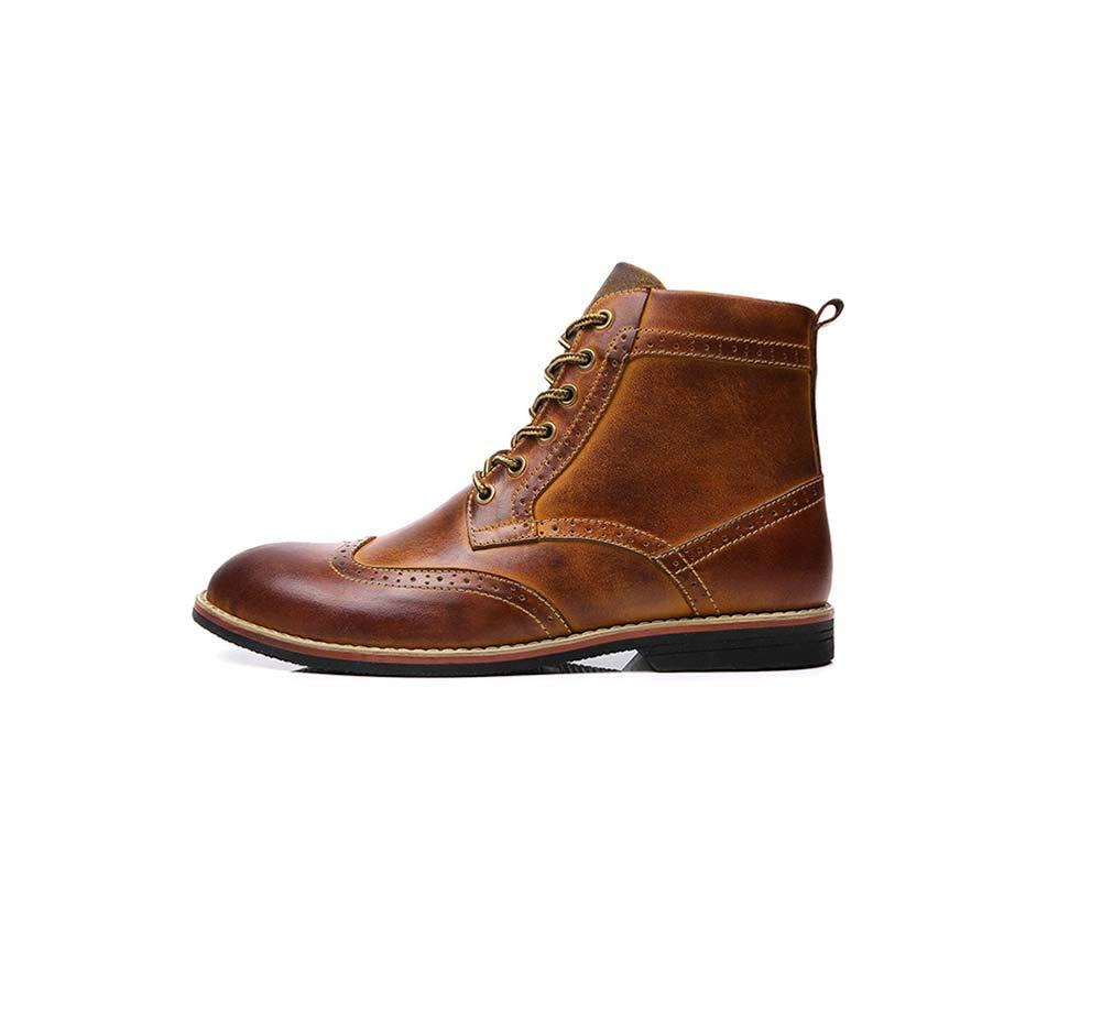 HYLFF Stiefel Männer Lace-up Bullock Geschnitzte Schuhe Schuhe Schuhe Leder Casual Martin Stiefel Western Round Head Stiefel Cowboy Reiten Ankle Stiefel,braun,47EU a49b29