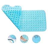 DKY Bathtub Mats Non-Slip,Machine Washable,Latex Free Shower Mat Extra Long 39' x 16' - Blue
