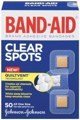 Band-Aid Brand Adhesive Bandages, Clear Spots, 50 count (pack of 4)