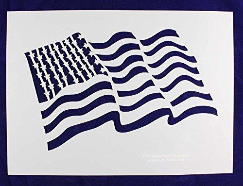 (US/American Flag Stencils (Wavy) - 18 x 13 Inches)