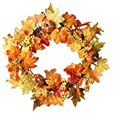 Vovomay 50cm Rattan Berry Maple Artificial Leaf Fall Door Wreath, Door Wall Ornament Halloween for Home Party Decor