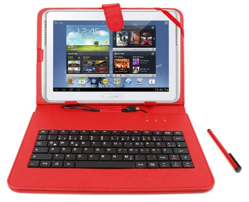 DURAGADGET Red Leather Look Case With Micro USB German Keyboard & Built In Stand Function For Samsung Galaxy Tab 3 10.1 10,1