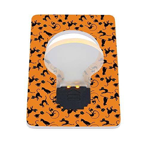 Black Cats Bengal Cat Orange Background Portable LED Card Folding Night Light Cute for BabyRoom 2 Pieces - Card Bengals