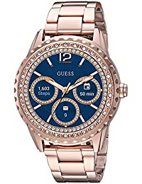 GUESS Women's Connect Smart Watch Touch Screen Android Wear Stainless Steel Rose Gold-Tone and Crystal Details
