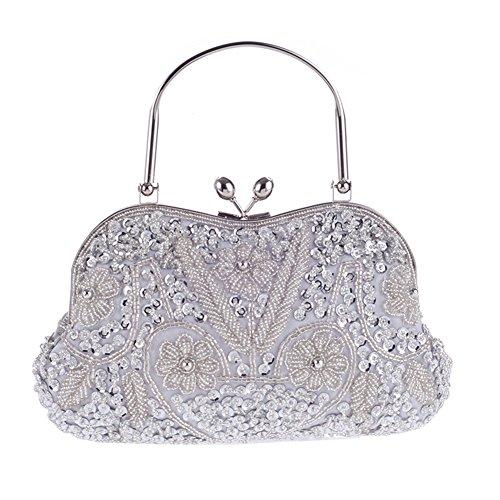 Sun worlds Bolso de Noche con Perla de Imitación Cristal Bolso de Cena  Floral para Fiesta Boda Plateado Mejor venta