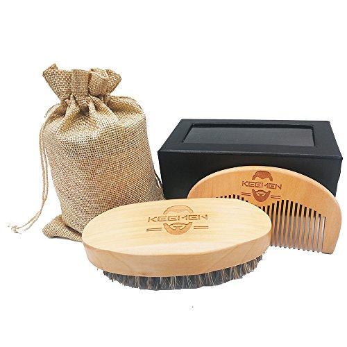 Wood Boar Bristle Beard Mustache Brush & Combs Men Grooming Kit Set with Gift Box & Velvet Bag for Man by KEEMEN (model 6)