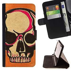 BullDog Case - FOR/Samsung Galaxy S4 IV I9500 / - / SKULL PINK ORANGE DEATH ART BIKER /- Monedero de cuero de la PU Llevar cubierta de la caja con el ID Credit Card Slots Flip funda de cuer