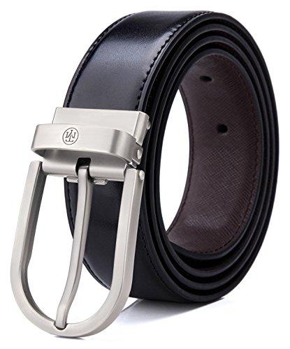 [해외]Tonly Monders 남성 청바지 용 뒤집을 가죽 벨트 블랙/Tonly Monders Men`s Reversible Leather Belt For Jeans Black