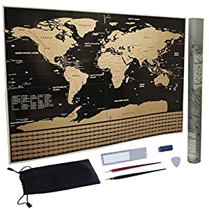 Wrifex Scratch Map of The World 32X23 inches with US States Country Flags and Much More from Wrifex