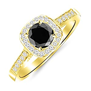 2.25 Carat Graduating Classic Cushion Halo Prong and Pave-Set Diamond Engagement Ring 14K Yellow Gold with a 2 Carat Round Cut AAA Quality Black Diamond (Heirloom Quality)