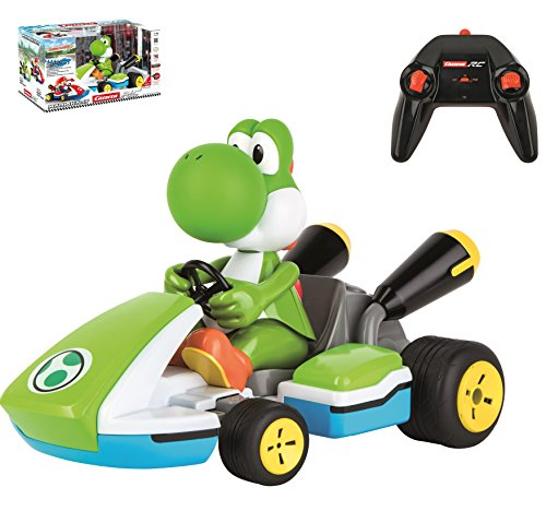 Carrera RC 162108 Official Licensed Mario Kart Yoshi Race Kart 1:16 Scale 2.4 GHz Splash Proof Remote Control Car Vehicle with Sound and Body Tilting Action - Rechargeable Battery - Kid Toys (Road Off Buggies Race)