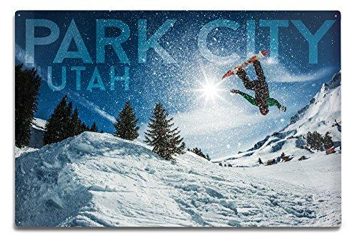 Lantern Press Park City, Utah - Snowboarder Jumping (12x18 Aluminum Wall Sign, Wall Decor Ready to Hang)