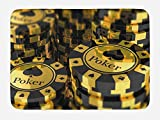 Lunarable Poker Tournament Bath Mat, Gold and Black Poker Chips in Gambling Club Currency Stack Wager Print, Plush Bathroom Decor Mat with Non Slip Backing, 29.5 W X 17.5 W Inches, Gold Black