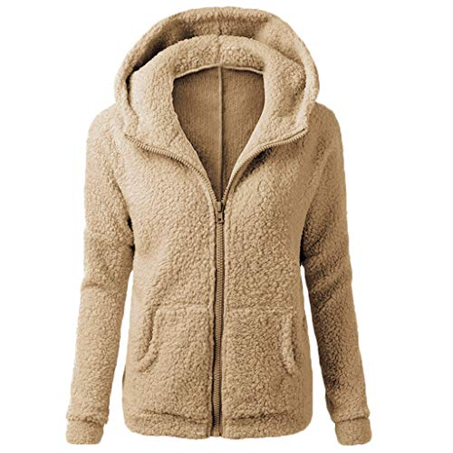 - kaifongfu Winter Coat Women, Hooded Sweater Coat Winter Warm Wool Zipper Coat Cotton Outwear (Brown, S)