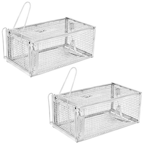 "- YISSVIC Live Animal Trap 2 Pack 11"" X 9.5"" X 6"" Catch Release Cage for Mouse Rats Mice Rodents and Similar Small Sized Pests (2 Pack)"
