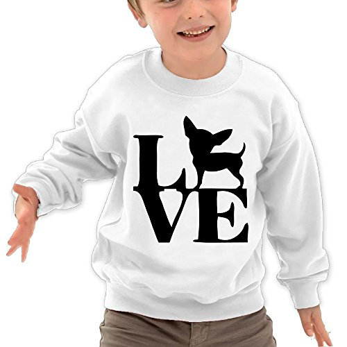 Puppylol Love Chihuahua Kids Classic Crew-neck Pullover Hoodie White 2 Toddler
