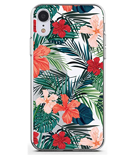 BAISRKE Compatible iPhone XR Case Slim Shockproof Clear Case with Flora Pattern Soft Flexible TPU Back Cover Phone Case for iPhone XR 2018 6.1 inch [Palm Tree Leaves] (Palm Tree Pattern)