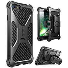 iPhone 8 Case, i-Blason Transformer [Kickstand] Apple iPhone 7 2016 / iPhone 8 2017 Release [Heavy Duty] [Dual Layer] Combo Holster Cover case with [Locking Belt Swivel Clip] (Black)